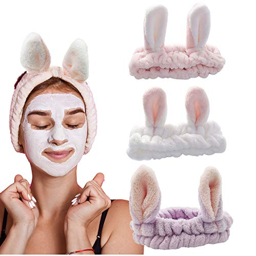 3 Stück Kosmetik Stirnband Kosmetik Haarband Elastische Haarband Kosmetik Stirnband Haarbänder Mit süßen Hasenohren Haarreifen Stirnbänder mit Hasen Ohr Haarschmuck für Make-Up Dusche Sport