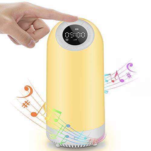 7 en 1 Luz Nocturna Altavoz Bluetooth Chenci Lámpara de mesilla de noche Táctil Música Temporizador Radio FM Reloj Despertador Regulable Recargable USB, Regalo para niños/hombres/mujeres