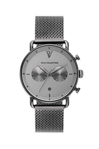 PAUL VALENTINE ® Herrenuhr mit Mesh Armband aus hochwertigem Edelstahl - Mit Saphirglas - 40 mm Durchmesser - Edle Herren Uhr mit japanischem Quarzwerk - Armbanduhr für Herren (Hawk)