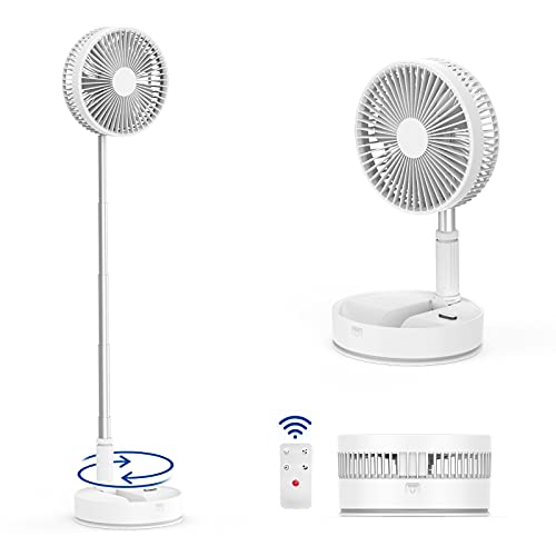 Oszillierender Faltbarer Ventilator mit Fernbedienung, Höhenverstellbarer Leiser Standventilator mit 4 Windgeschwindigkeiten für Zuhause, Büro,Camp und Outdoor,Weiß und Hellgrau
