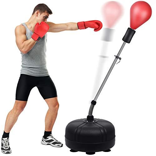 Punchingball Boxstand, 133-155cm Höhenverstellbarer Standbox Trainer Standboxsack für Erwachsene Kinder, Standboxball Freistehend für Karate Kickboxen