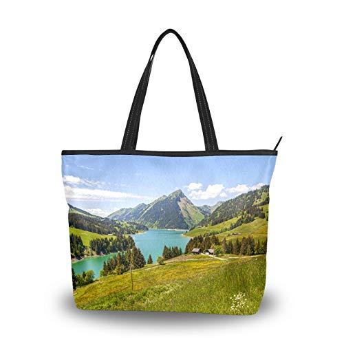 Bolso de mano para mujer, gran capacidad, viajes, casual, compras, trabajo, con asa superior, bolsos de mano, bolso de mano, hermoso vista, lago, montañas,