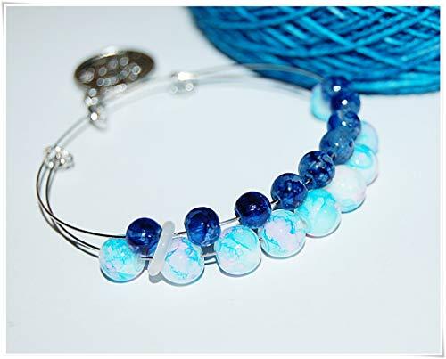 Reihenzähler Armband Stricken Häkeln Blau