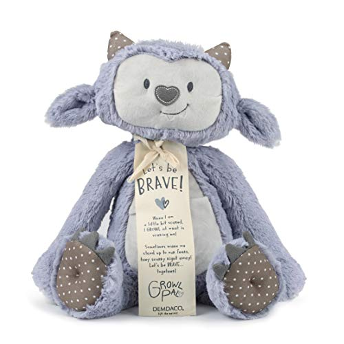 DEMDACO Growl Pal Let's Be Brave Polka Dot Purple 16 inch Plush Fabric Figure Toy
