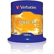 Verbatim DVD-R - 4.7 GB, 16-fache Brenngeschwindigkeit mit langer Lebensdauer und Kratzschutz, 100er Pack Spindel, mattsilber