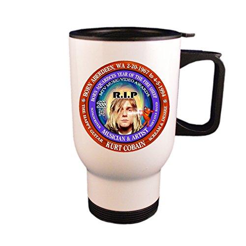 Kurt Cobain RIP Singer Travel Mug/Cup, Astrology Aquarius/Pisces Cusp Zodiac Fire Sheep
