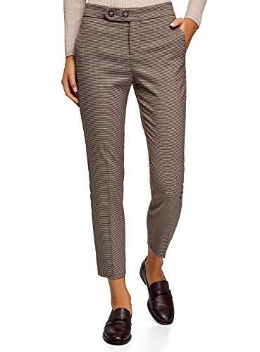 oodji Ultra Mujer Pantalones con Patrón de Pata de Gallo y Botones a Presión, Beige, 38