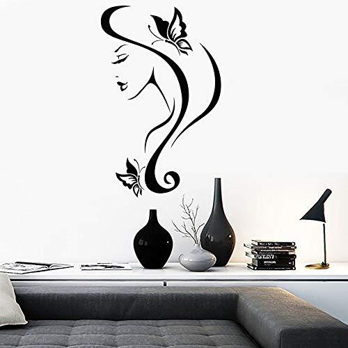 Calcomanía de vinilo en la pared mariposa en cabello de mujer hermoso rostro abstracto moderno dormitorio decoración del hogar peluquería mural interior