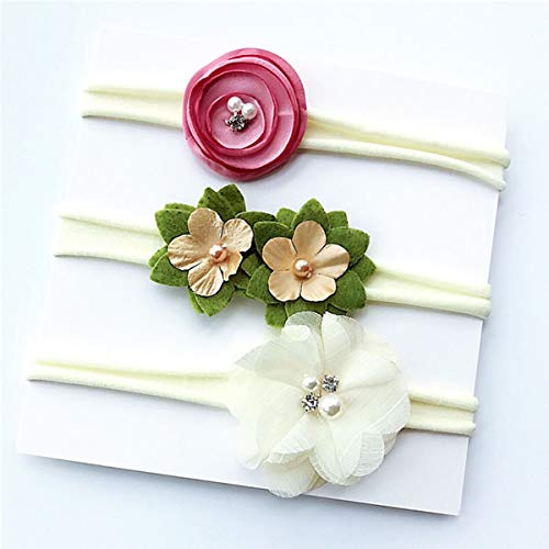 HaiQianXin 3-delige set elastische haarbanden voor baby's met foto's van de bloem van de druppels (kleur: roze + wit + groen)