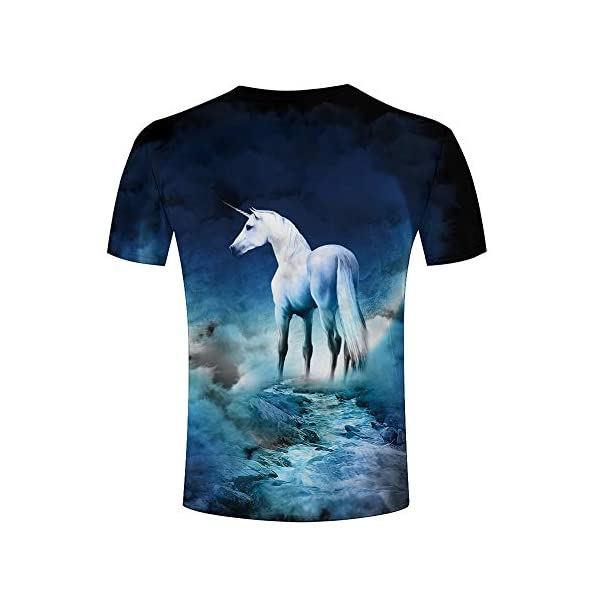 Men Casual Tshirts Creative Horse Unicorn 3D Graphic Printed Unisex Animal Pattern Graphic Tees Tops 3XL 4