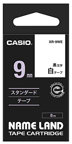 XR-9WE1 5x  Label Tape 9mm SCHWARZ-WEIß für CASIO XR-9WE