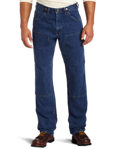 Key Industries Men's & Tall Relaxed Fit Enzyme Washed Indigo Denim Logger Dungaree, 44W x 32L