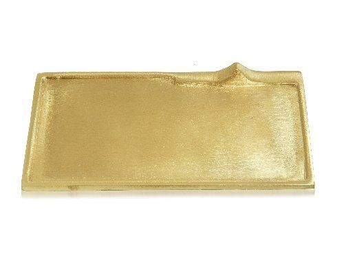 Messingteller rechteckig gold, 170 x 90 mm, Kerzenteller Weihnachten Hochzeit