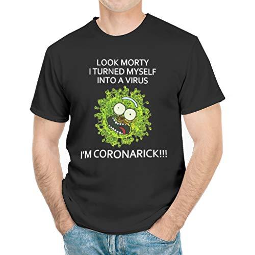 SkyTee CoronaRick Funny T-Shirt, Coronavirus Joke T-Shirt Gift for Teenage Boy White 3X-Large