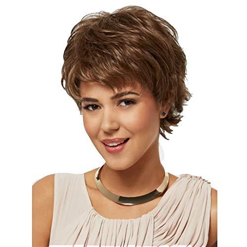 SGEARF Pelucas de pelo corto rizado marron pelucas de fibra sintetica natural peluca para mujer