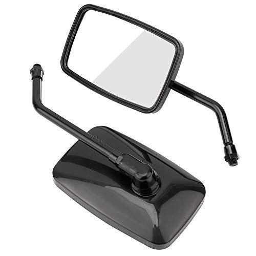 EBTOOLS 2 stuks handvat van metaal + ABS-beschermhoes voor motorfiets, fiets, gemodificeerde vierkant, achteruitkijkspiegel aan de zijkant default zwart.