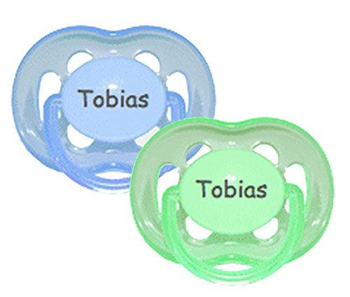 Avent Symmetrische/Flache Namensschnuller - Schnuller mit Namen - Gr 2 - Silikon - blau & grün