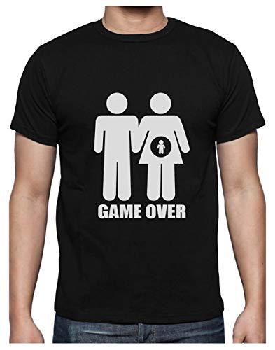Camiseta para Hombre - Game Over Pregnant - Regalo Divertido para Anuncio de Embarazo X-Large Negro
