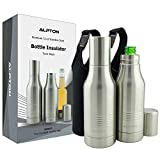 Beer Bottle Cooler Double Wall Stainless Steel 2 Pack, Bottle Insulator with Bonus 2 Insulated Bags, Bottle Holder for Soda, Beer and Cider, Great Gifts for Men and Women