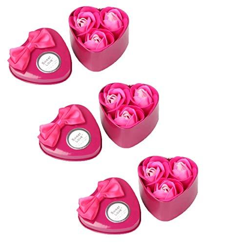 Andouy Handgemachte Seife Rose Seifenblume Badeseife Im Geschenk-Box für Valentinstag Muttertag Lehrertag Geburtstag Jahrestag(7.4x7x5cm.Pink-1)