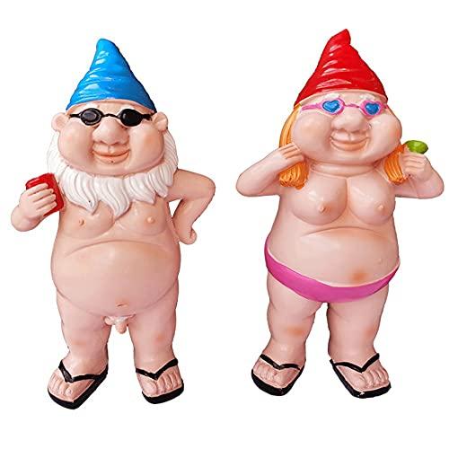 Jardín Naked Gnome Estatua Decoraciones, Naughty Dwarf Naked Masculino y femenino Pareja de resina Handicraft Garden Goblin para cualquier jardín Yard al aire libre adorno interior adorno jardín decor