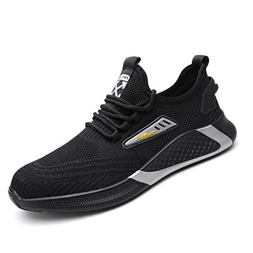 Zapatos de seguridad Dedo del pie ligera Seguridad cordones de los zapatos de acero casquillo y media suela de acero En la zapatilla de deporte de Outlook, mujeres de los hombres transpirable zapatill