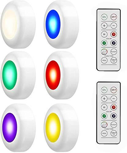 RGB 6er Schrankbeleuchtung swonuk Schrank Lichter LED mit Fernbedienung 16 Farben Schrankleuchten Nachtlicht Unterbauleuchte für Schlafzimmer, Kleiderschrank, Kabinett, Küche (6er-Set)