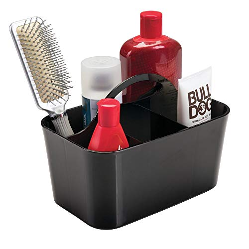 mDesign Plastic Portable Storage Organizer Caddy Tote - Divided Basket Bin, Handle for Bathroom, Dorm Room - Holds Hand Soap, Body Wash, Shampoo, Conditioner, Lotion - Small - Black