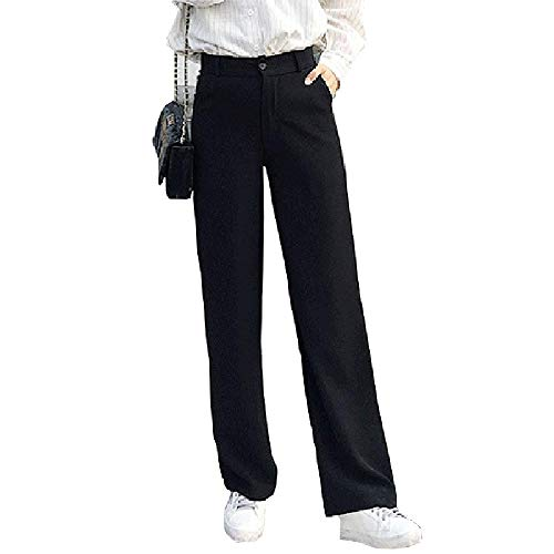 NOBRAND Cintura Alta SPantalones Rectos Mujer Negro Casual Suelto Formal Pantalón Largo