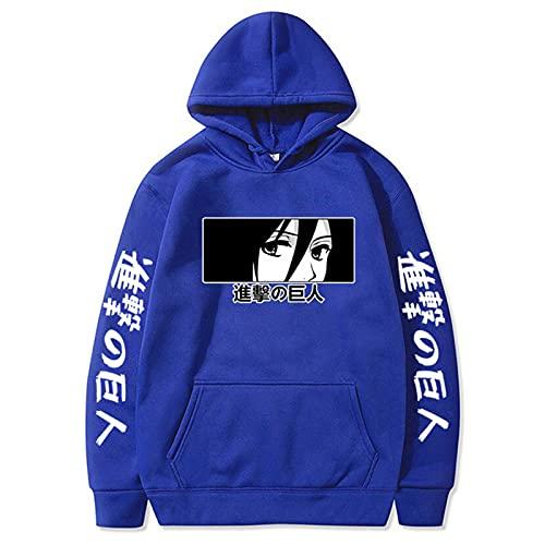 GPUI Ataque de Anime en Titán Hoodie, Sudadera Sudadera Anime Leewell Patrón suéter Jersey con Bolsillo blue2-XL