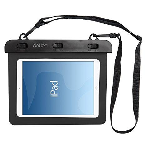 doupi wasserdichte Schutztasche 220x160mm für 7/8 Zoll Tablet Touchscreen Funktion Wasserfest Schutzhülle Waterproof Water Resistant Beach Bag Schwarz