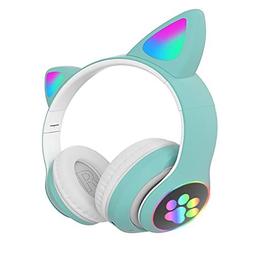 Auriculares Bluetooth Plegables con Orejas de Gato, AudíFonos InaláMbricos Juegos Hi-Fi EstéReo Luces RespiracióN RGB ReproduccióN de MúSica 10H, SincronizacióN Sin Demoras, para Adultos (Color:Verde)