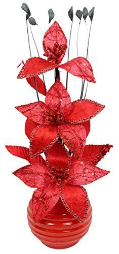 Flourish Kunstblumen im Topf Dekoration Wohnung Modern Deko Wohnzimmer, 32cm, Rot