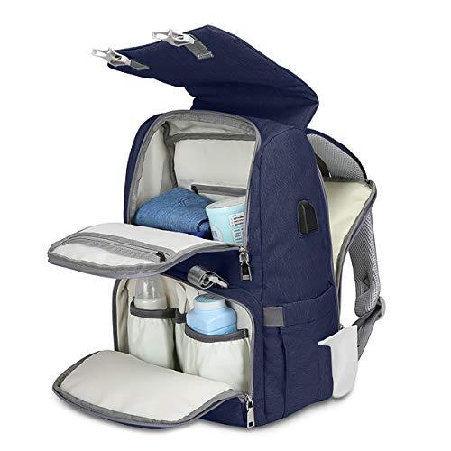 SONARIN Multifunción Impermeable Mochilas para Pañales,Colchones para cambiador,interfaz USB,Bolsa de pañales con bolsas con aislamiento botella,Gran Capacidad,lavable a máquina,Duradera(Azul Oscuro)