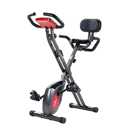 Bicicleta plegable para el hogar, bicicleta estática de control magnético para interiores, asiento cómodo ajustable, 8 niveles de resistencia, pantalla LCD, adecuada para el hogar,gris oscuro