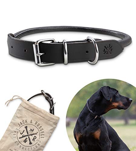 Jack & Russell Halsband Paris - Premium Leder Hunde Halsband echtes Leder Halsband schwarz Paris (S)