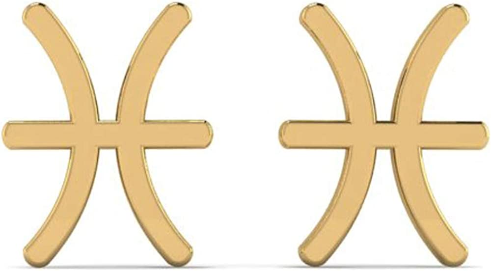 Pisces Zodiac Symbol Gold Plated Brass Stud Earrings Jewellery Korean Style Jewellery Engagement BR-256