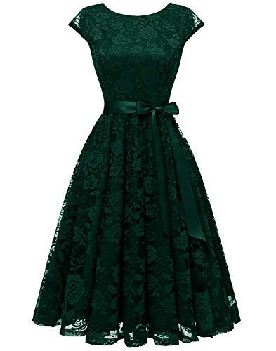 BeryLove Women's Floral Lace Short Bridesmaid Dress Cap-Sleeve Wedding Formal Party Dress BLP7016DarkGreenXL (Apparel)