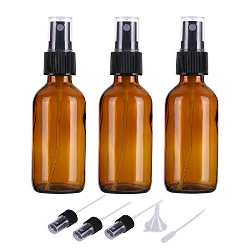 3 x Botellas de Spray de Vidrio ámbar vacías de 60 ml para aceites Esenciales, Botellas de Spray de Niebla Fina de Viaje Recargables pequeñas, limpiadores caseros y dispensador de Niebla Fina (A)