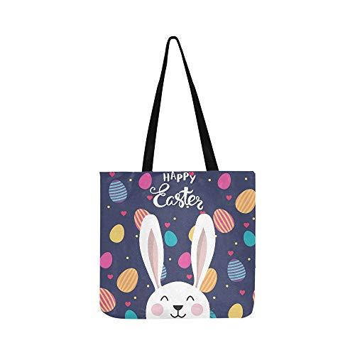 Vektor-typografische Ostern Poster Easter Bunny Canvas Tote Handtasche Schultertasche Crossbody Taschen Geldbörsen für Männer und Frauen Einkaufstasche