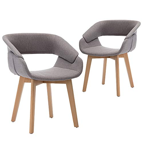 Teraves Esszimmerstuhl 2er Set Büro Lounge Wohnzimmer Küche Stuhl mit Holzbeinen Esszimmerstühle mit Armlehnen und Rückenlehne (2 pcs, Grau)