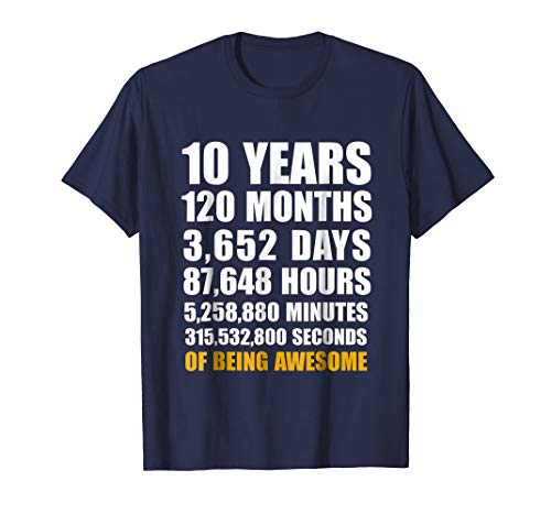 10th Birthday Gift T Shirt 10 Years Old Being Awesome Tee - T Shirt for Men and Woman.