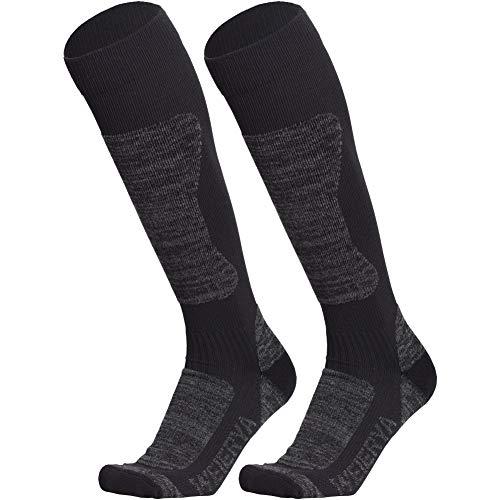 WEIERYA Ski Socks High Performance Winter Sports Skiing Snowboarding Socks for Men and Women, 2 Pairs Dark Grey M