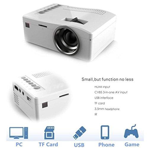 Vidéoprojecteur LCD, Mini Projecteur Vidéo LCD Portable Coloré(TM) 1080 P HD LED Accueil MulitMedia Cinéma Cinéma USB TV VGA SD HDMI Mini Projecteur