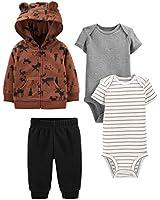 Simple Joys by Carter's Boys' 4-Piece Fleece Jacket, Pant, and Bodysuit Set, Brown Moose, Newborn