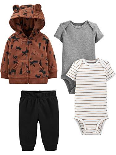 Simple Joys by Carter's Boys' 4-Piece Fleece Jacket, Pant, and Bodysuit Set, Brown Moose, 18 Months