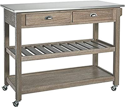 Ball & Cast Solano 2 Drawer Wire-Brush Rubberwood Kitchen Cart with Stainless Steel Top - Grey by Huasen Furniture