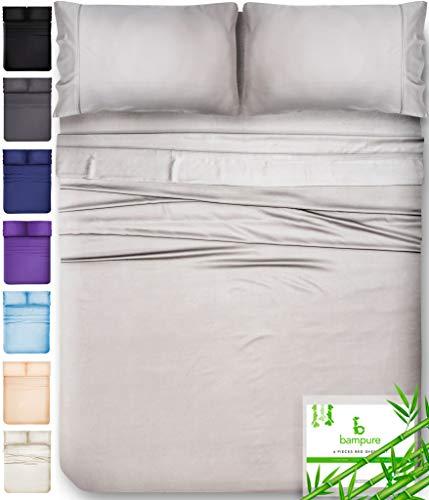 BAMPURE 100% Organic Bamboo Sheets - Bamboo Bed Sheets Organic Sheets Deep Pocket Sheets Bed Set Cooling Sheets Queen Size, Light Gray