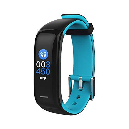 novasmart - Reloj deportivo runR II con correa inteligente y pantalla en color, con registro de frecuencia cardíaca y presión arterial, contador de calorías y pasos, y control del sueño, negro/azul