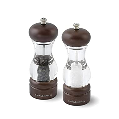 COLE & MASON 105 Forest Wooden Salt and Pepper Grinder Set - Wood and Acrylic Mills include Precision Mechanism and Premium Sea Salt and Peppercorn Refills